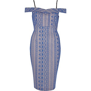 Blue lace short sleeve bodycon dress