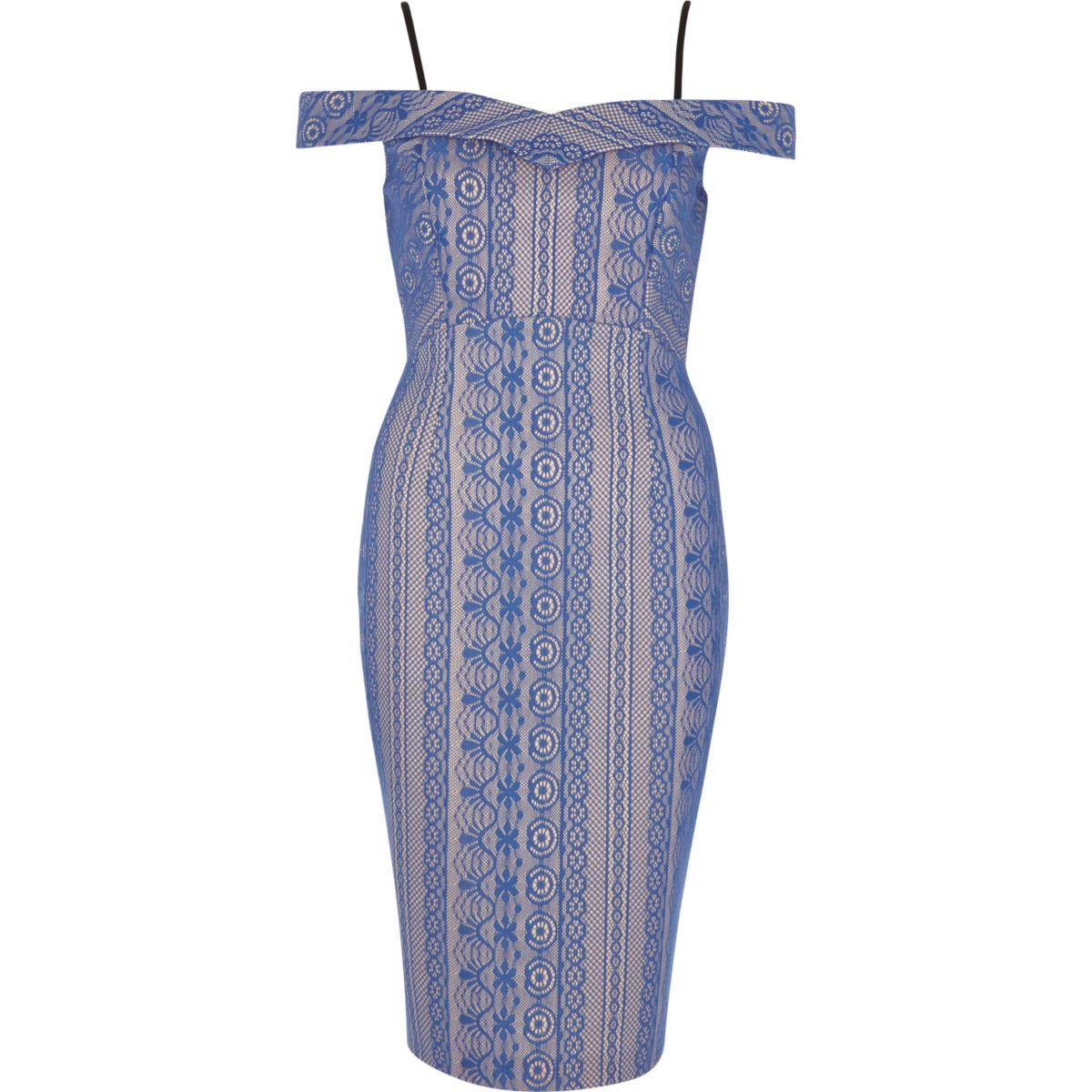 Blue lace short sleeve bodycon dress