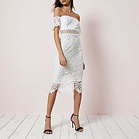 White lace bardot bodycon dress
