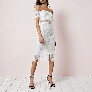 Weißes Bodycon-Kleid aus Spitze