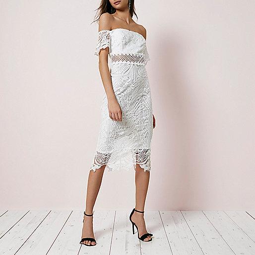 White lace bardot bodycon dress