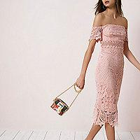 Pink lace bardot bodycon dress