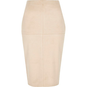 Light pink faux suede midi pencil skirt