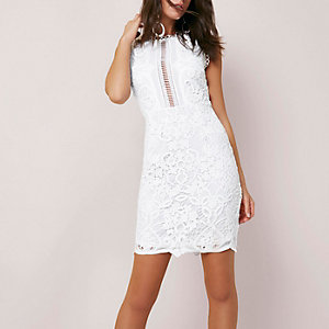White lace sleeveless bodycon mini dress