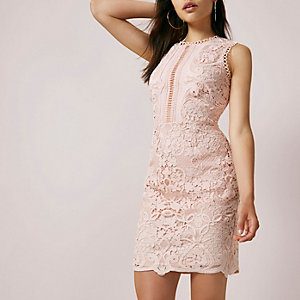 Nude lace sleeveless bodycon mini dress