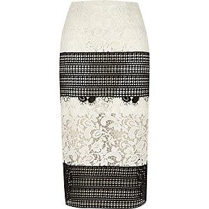 Black mono lace midi pencil skirt