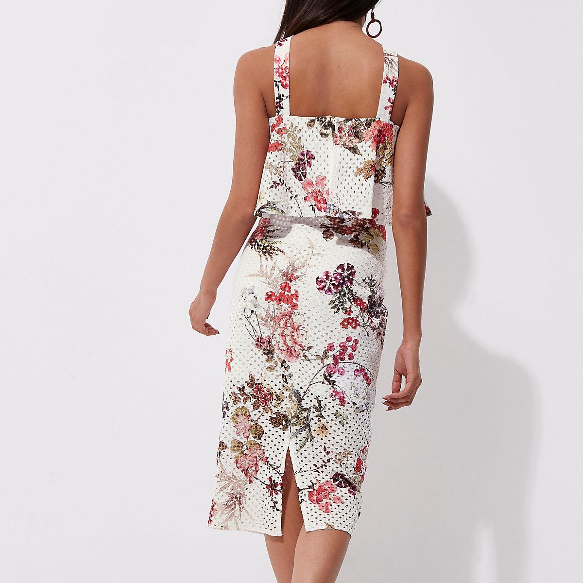... White floral laser cut midi pencil skirt ...