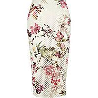 White floral laser cut midi pencil skirt