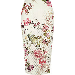 White floral laser cut midi pencil skirt