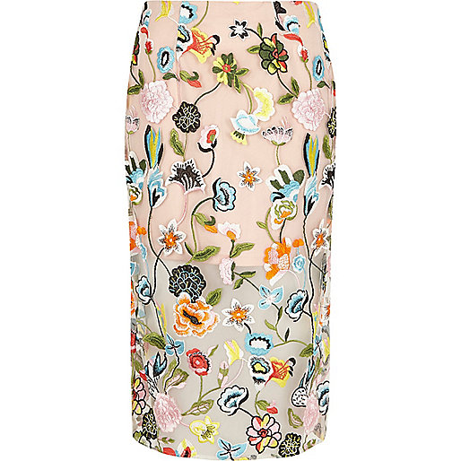 Pink floral embroidered midi pencil skirt