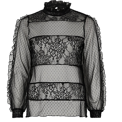 Black lace and dobby mesh panel top