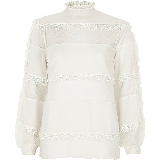 Cream lace and dobby mesh panel top