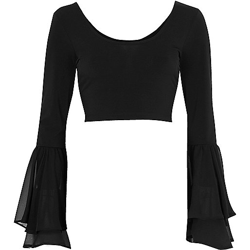 Black double bell mesh sleeve crop top
