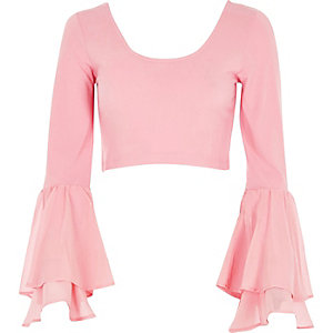 Pink double bell sleeve crop top