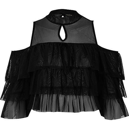 Black mesh frill cold shoulder crop top