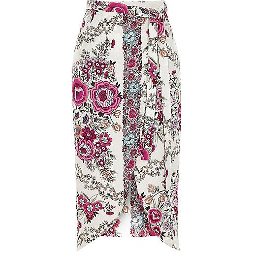 Jupe mi-longue à imprimé floral rose style portefeuille