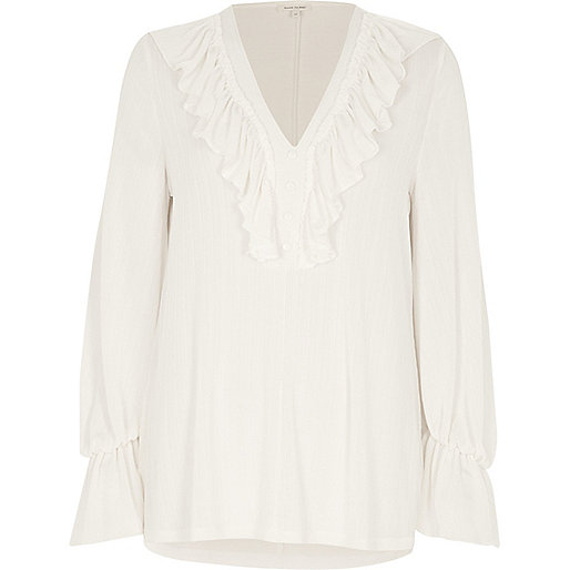 Cream frill V neck long sleeve top
