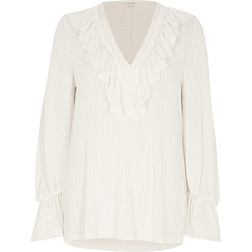 Cream frill V neck long sleeve top