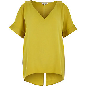 Lime cold shoulder split back top