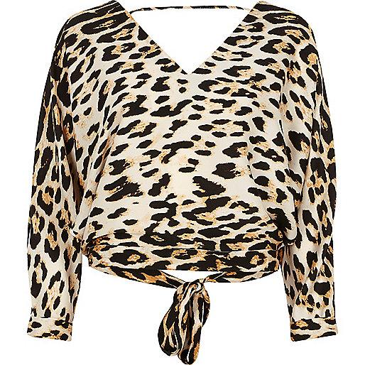 Leopard print tie back top