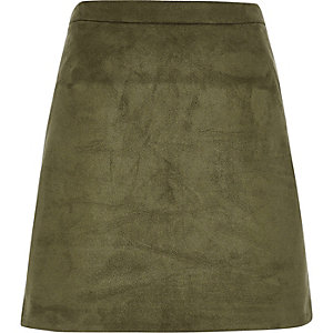 Khaki faux suede mini skirt