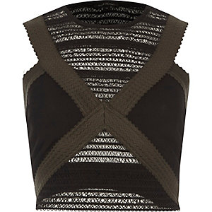 Khaki green sleeveless bandage crop top