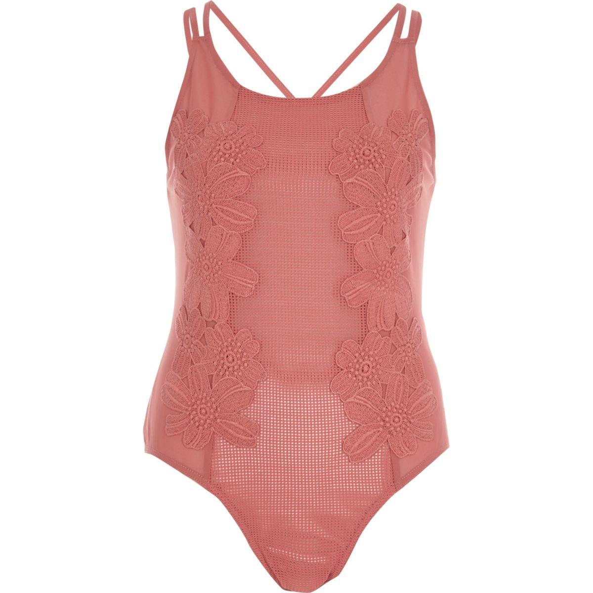 Dark pink mesh floral appliqué bodysuit