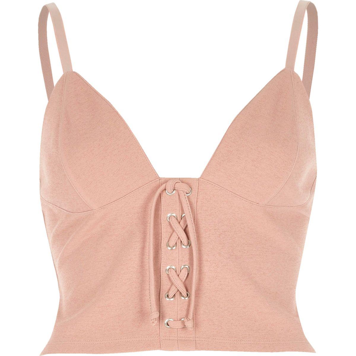 Light pink eyelet corset cami crop top