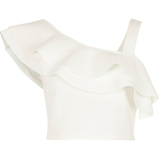 White asymmetric cold shoulder frill crop top