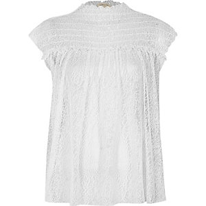 White shirred neck textured mesh top