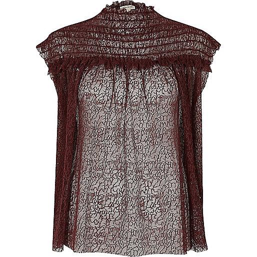 Dark purple shirred neck textured mesh top