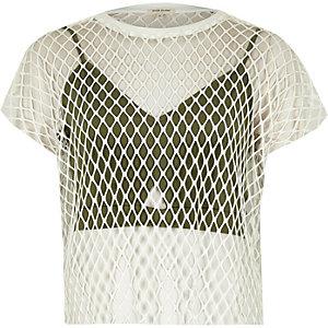 White bralette overlay mesh T-shirt