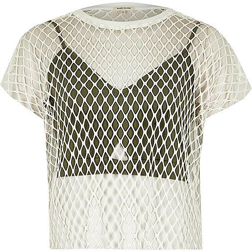 White bralet overlay mesh T-shirt