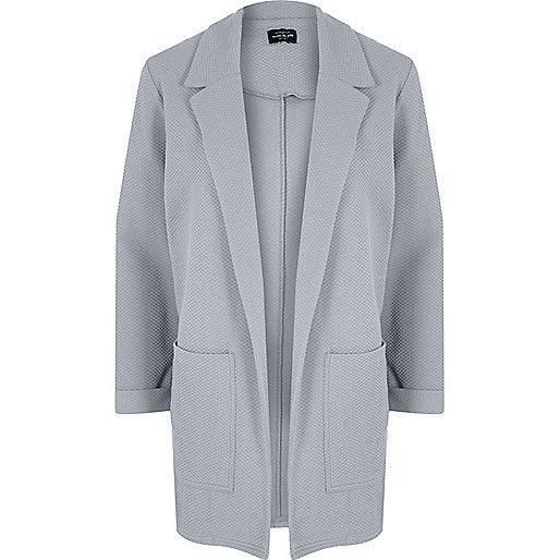 Light grey textured cardigan jacket