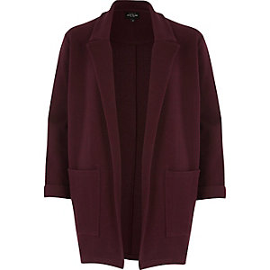Dark red jersey blazer jacket