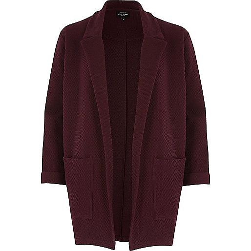 Dark red jersey blazer jacket