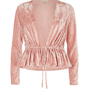 Pink burnout velvet drawstring waist top