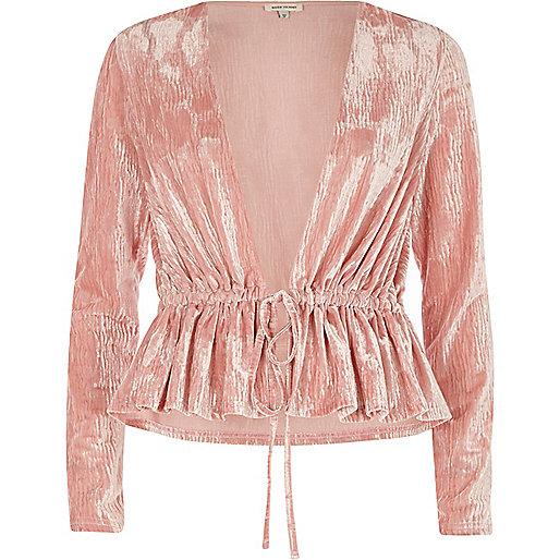 Pink burnout velvet drawstring waist top