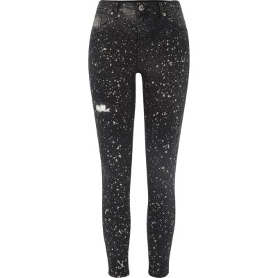 Amelie Zwarte superskinny jeans met verfspatten
