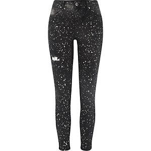 Amelie - Zwarte superskinny jeans met verfspatten