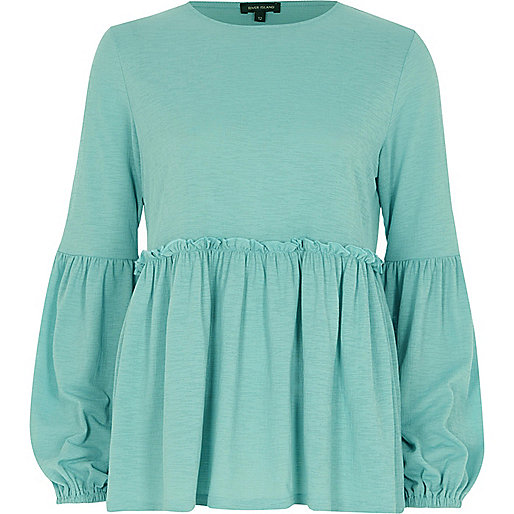 Green bell sleeve smock top