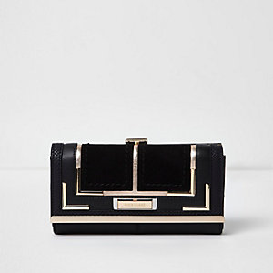 Black panel clip top purse