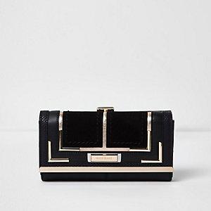 Zwarte portemonnee met druksluiting en paneel