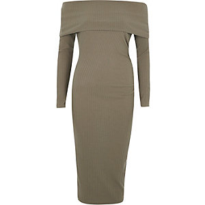 Khaki ribbed bardot midi dress