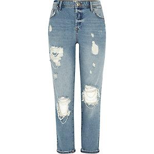 Blue authentic wash ripped boyfriend jeans
