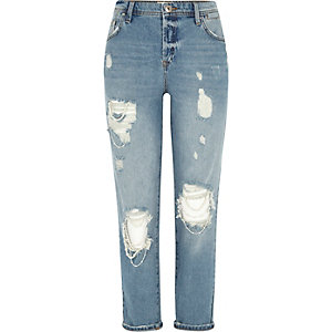 Blue authentic wash ripped boyfriend jeans