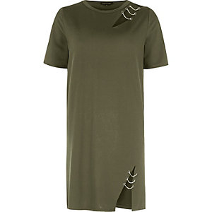 Khaki green chain cut out T-shirt dress