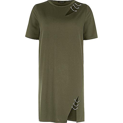 Khaki green chain cut out T-shirt dress