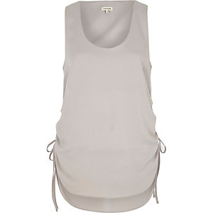 Light grey gathered side vest