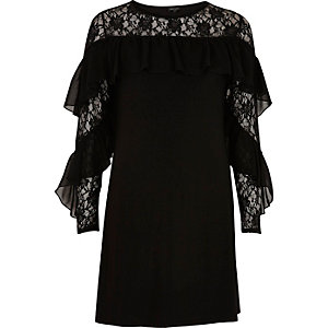 Black lace frill sleeve dress